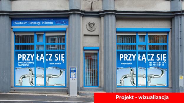 Projekt i oklejenie witryn w Biurze Obsługi Klienta WPWiK